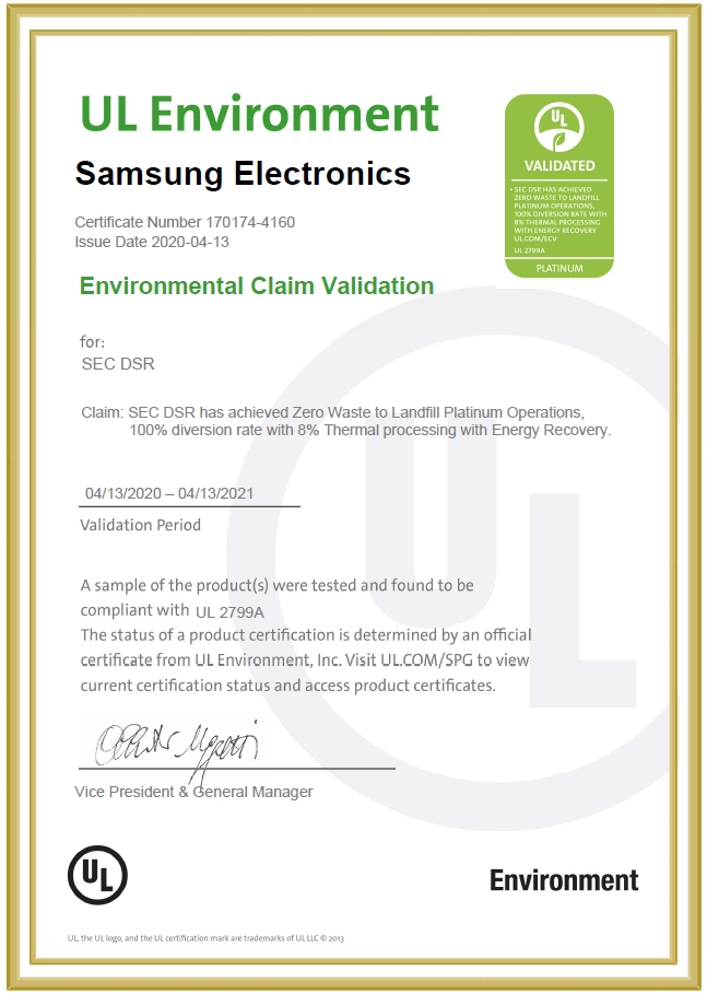 Samsung Receives Zero Waste to Landfill Validations for All its Global Semiconductor Manufacturing Sites