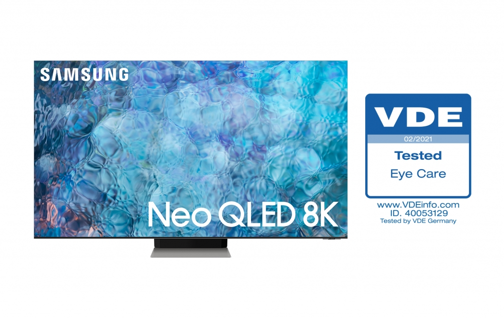 Samsung's 2021 Neo QLED TVs Receive Industry-First 'Eye Care' Certification from Leading Engineering Association, VDE